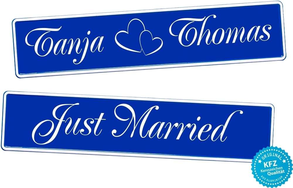 Original KFZ-Kennzeichen Hochzeit, blau, Just Married, NEU